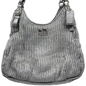 COACH Gray Fabric Tripple Compartment Shoulder Bag